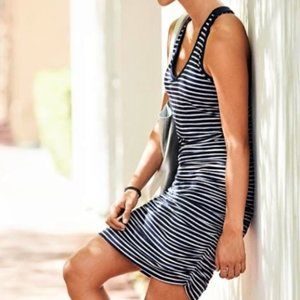 Athleta navy stripe runched casual dress